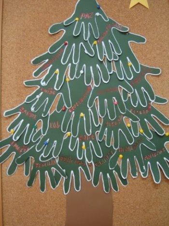 Cada aluno deve ter uma cartolina branca, nela irão marcar suas mãos com tinta verde e depois recortar com uma tesoura sem ponta e com isso deve ser reunido todas as mãos e montar uma linda arvore de natal como mostra o desenho abaixo.