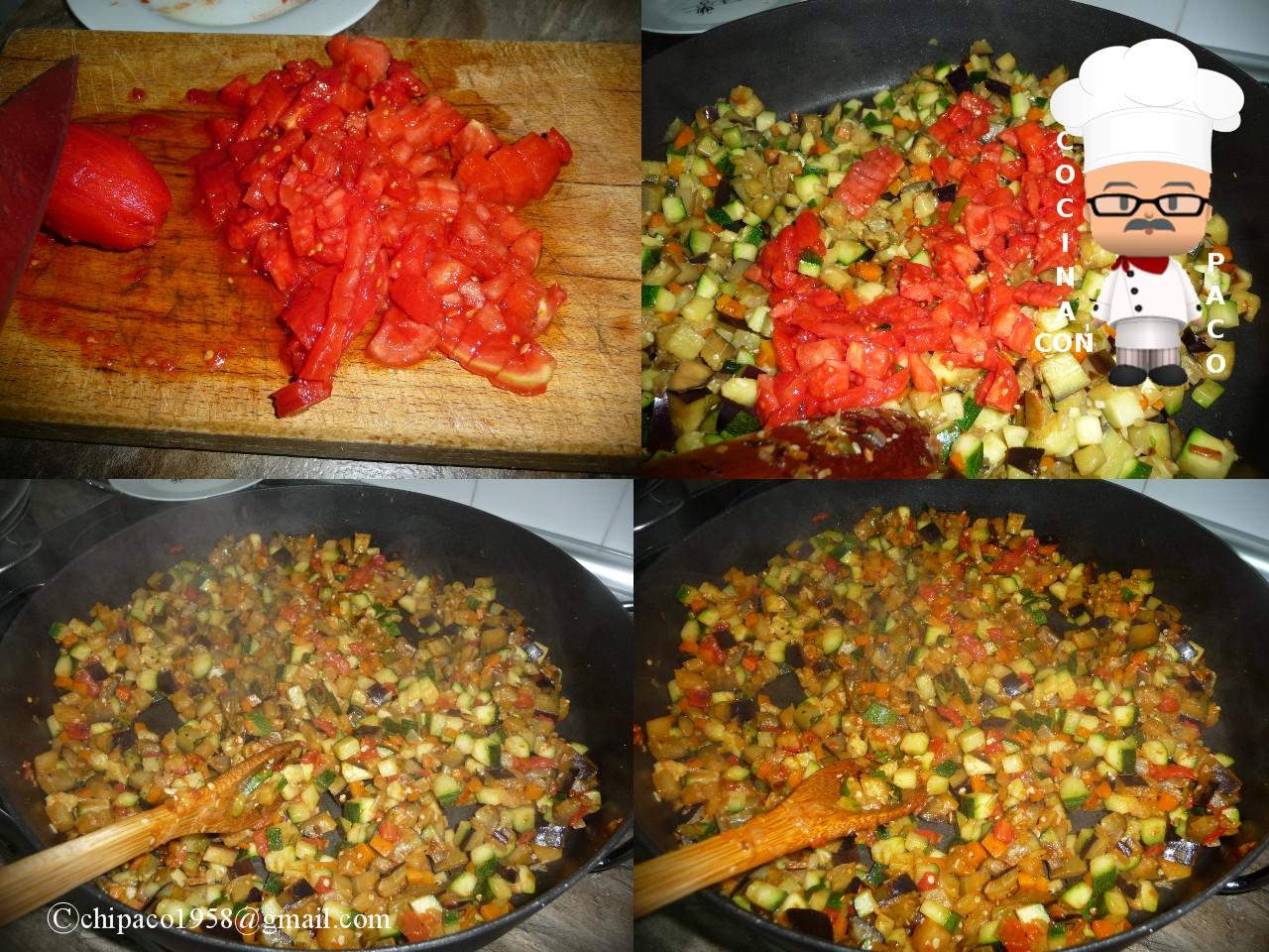Cocina con paco arroz con berenjenas y calabac n light - Arroz con verduras light ...