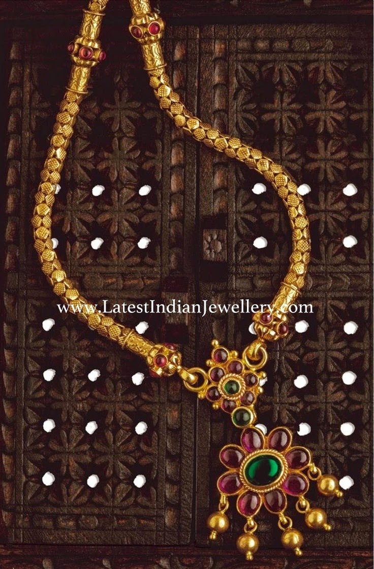 South Indian ruby pendant gold necklace