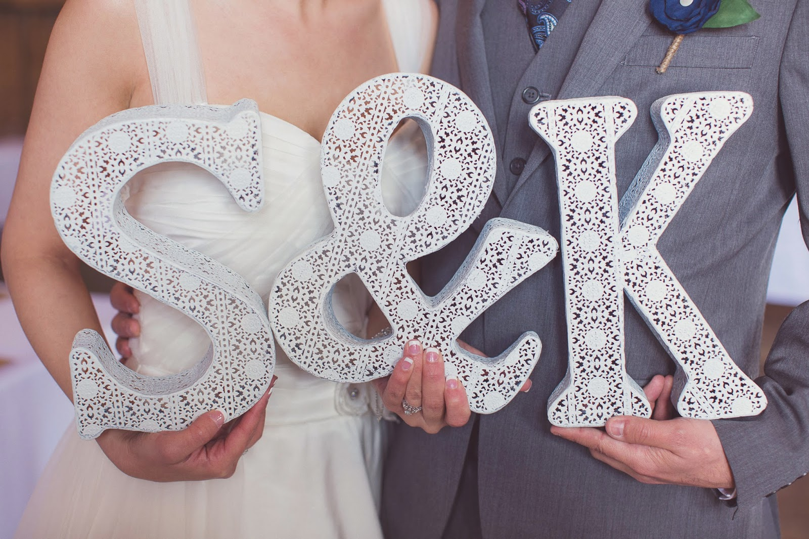 metal lace initials wedding decoration