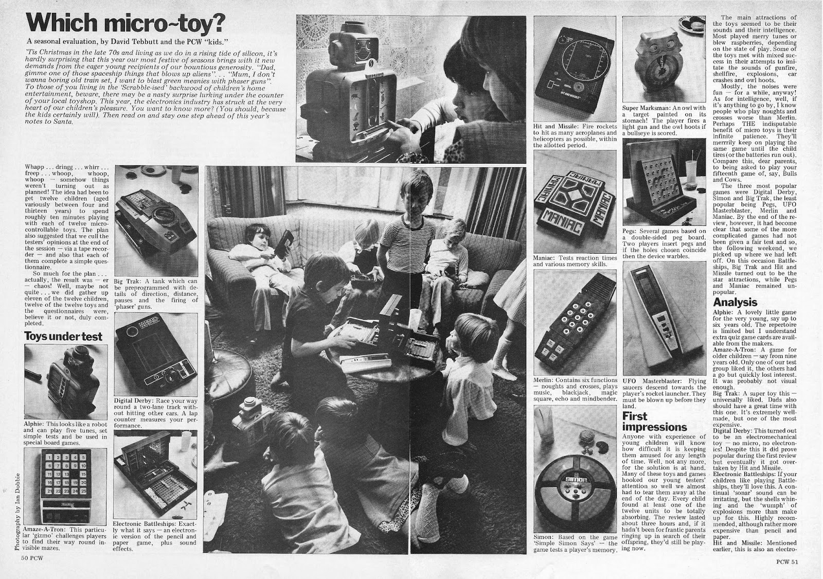 1979 PCW Christmas article on children's Electronic Toys and Games.