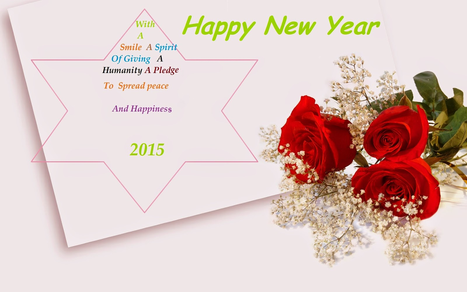 beautiful happy new year 2015 red roses flower wallpaper