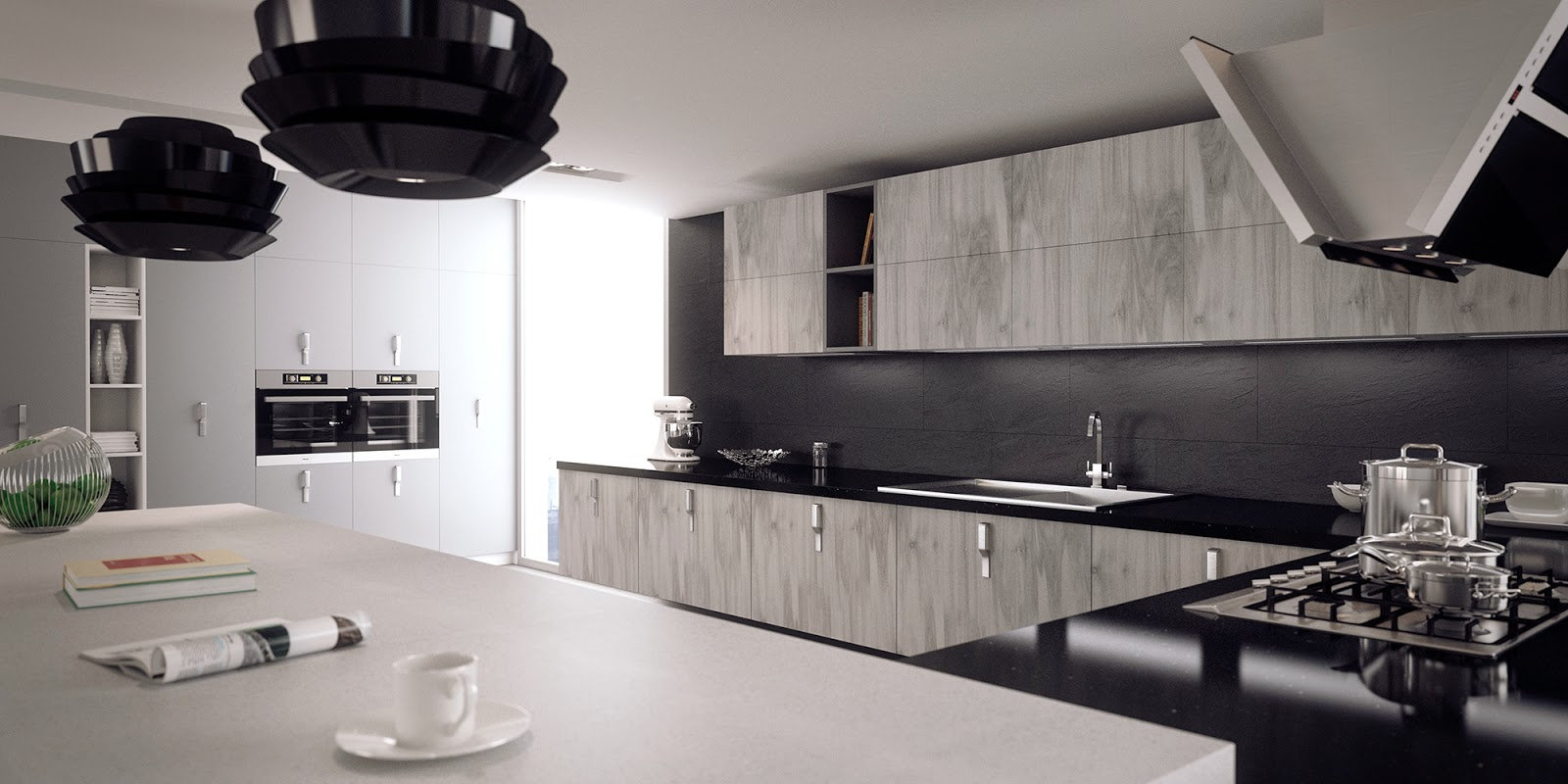 Jose vicente sanz march ambiente cocina con muebles en - Muebles blanco y negro ...