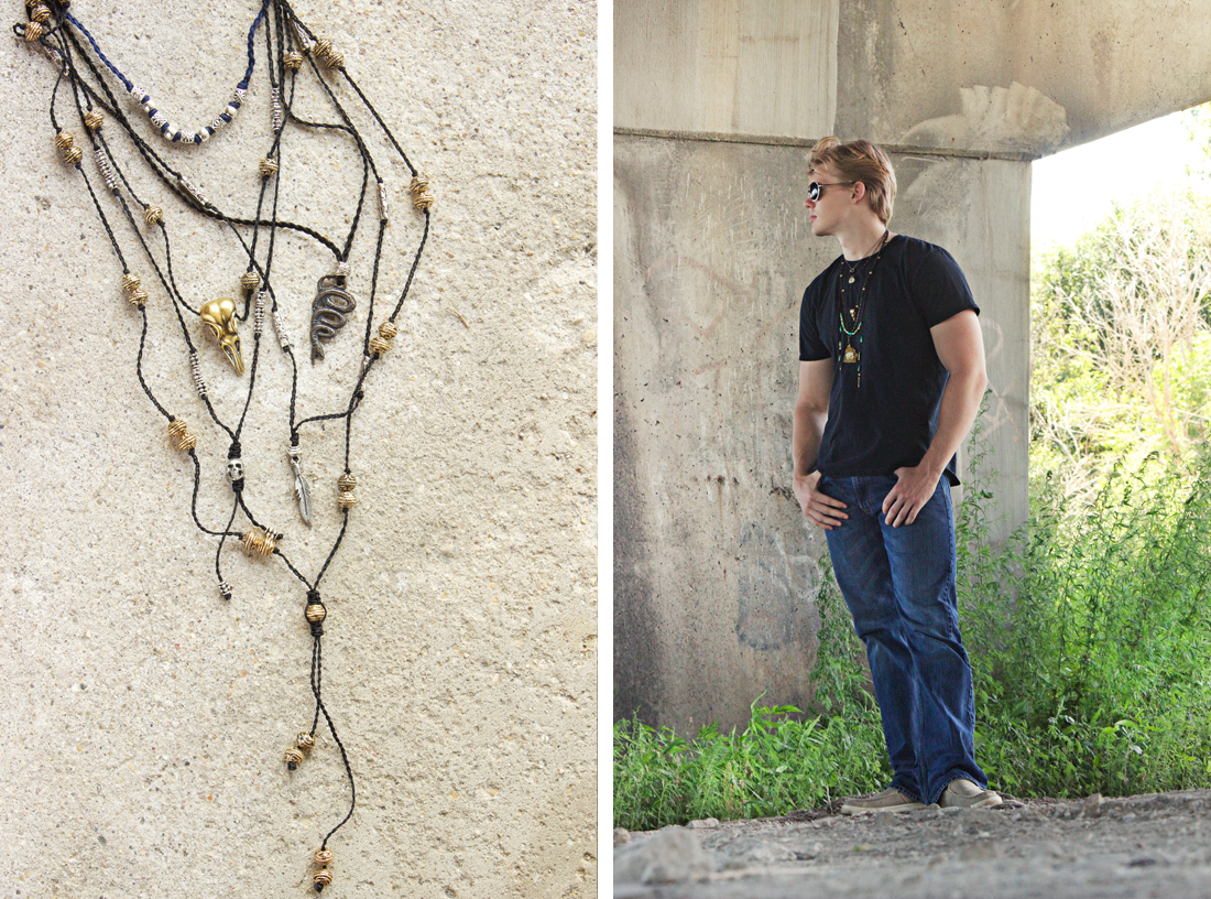 men's necklace collection by Quiet Lion Creations. Model credit: Ryan Folliard