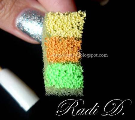 Градиент с гъба и 3 цвята лак за нокти