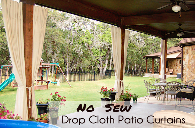 Scattered Thoughts of a Crafty Mom: No Sew Drop Cloth Patio Curtains