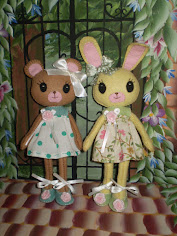 "Bunny And Bear Felt Doll Pattern...When completed they measure 7"" tall"