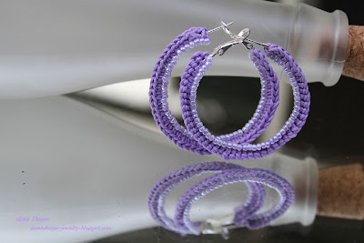 gunadesign crochet with seed beads Hoop earrings Romance of Lilac