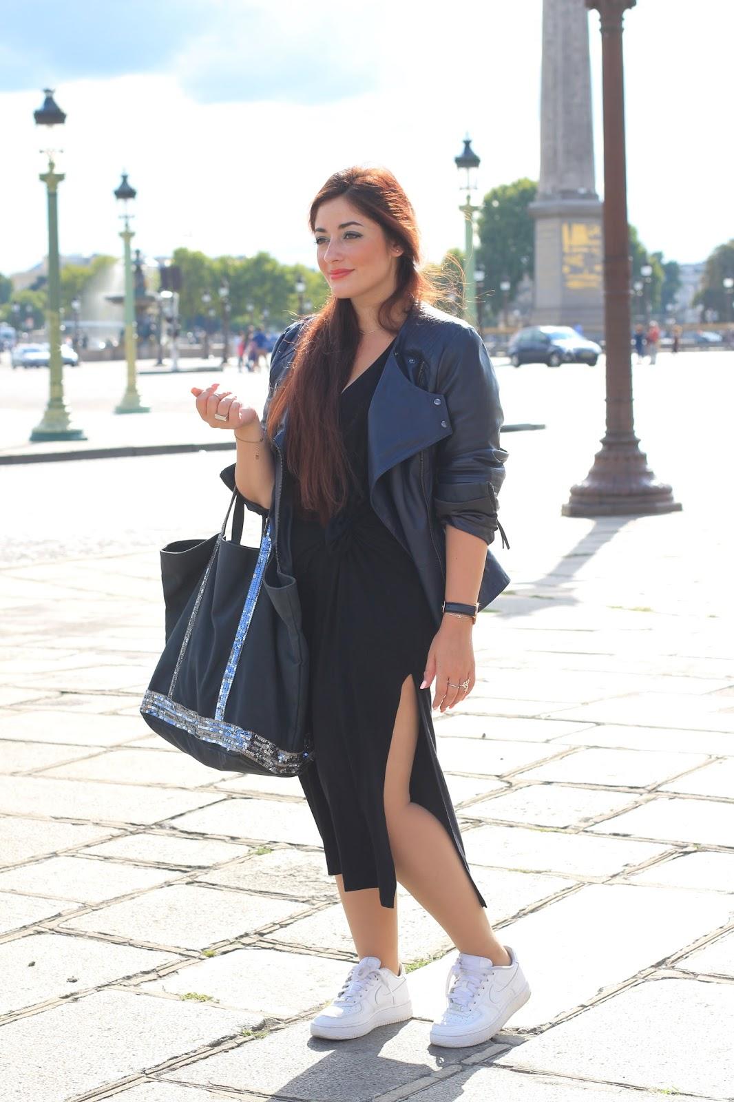 Veste sur robe longue noire