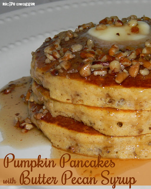 Pumpkin Pancakes with Butter Pecan Syrup