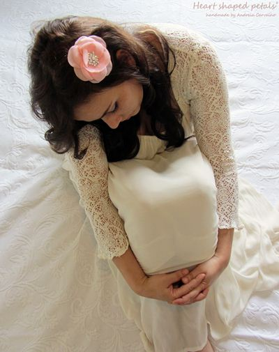 pink fabric flower bridal hair accessory