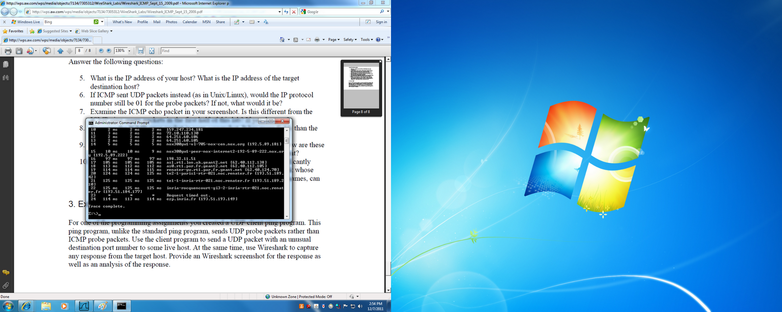 CSC251: Wireshark Lab: ICMP