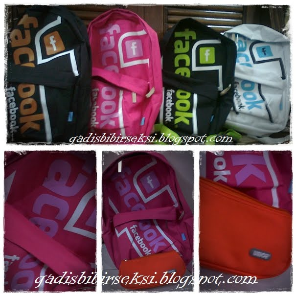 pink facebook bag + pencilcase orange