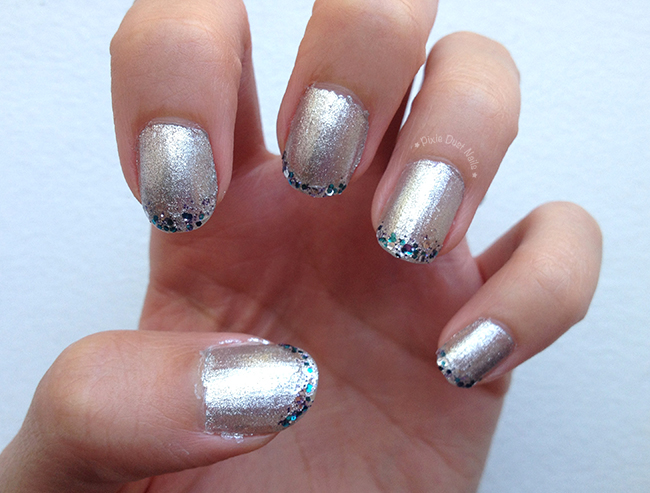 Silver Glittery Nails for Disneyland's 60th.