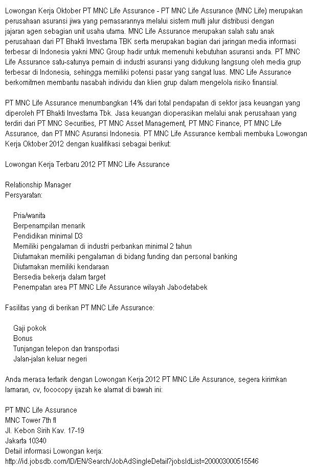 Lowongan Pekerjaan PT MNC Life Assurance
