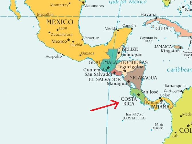 Costa Rica Map Equator - Map of us and costa rica
