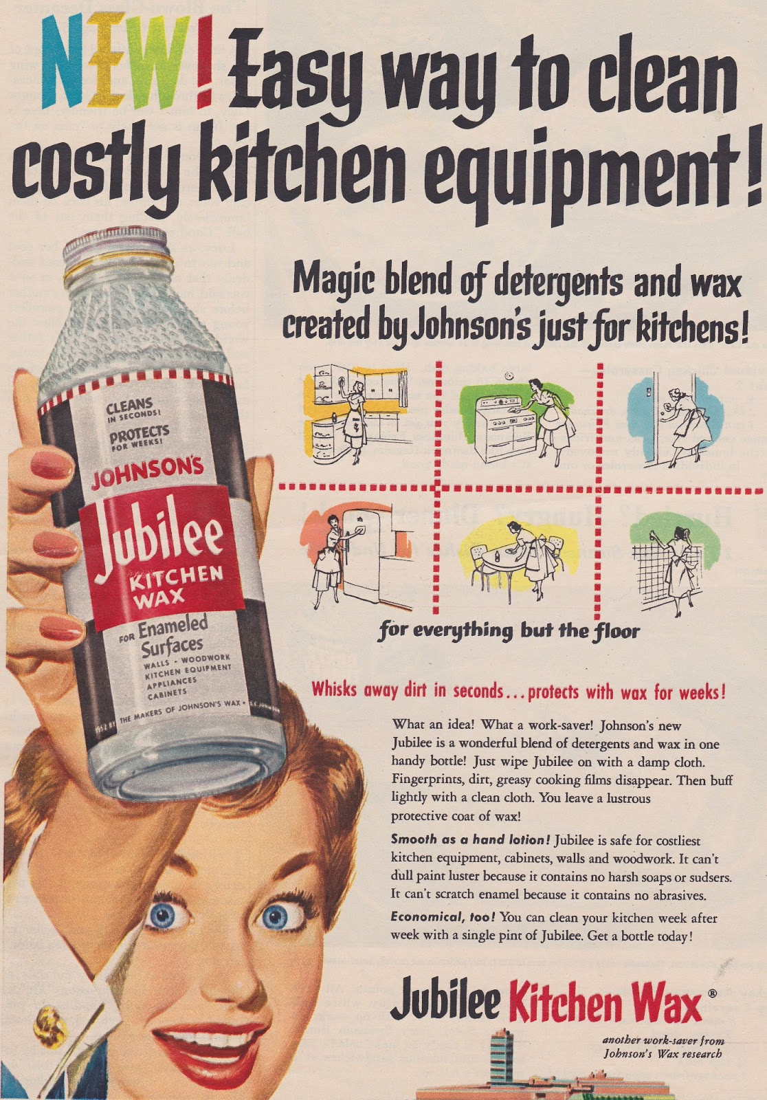 Exceptionnel Colorful 1953 Advertisement For Jubilee Kitchen Wax