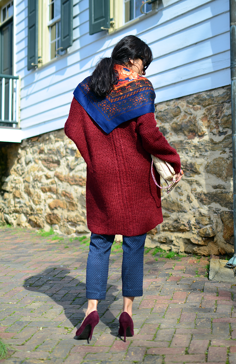 Burgundy outfit street style