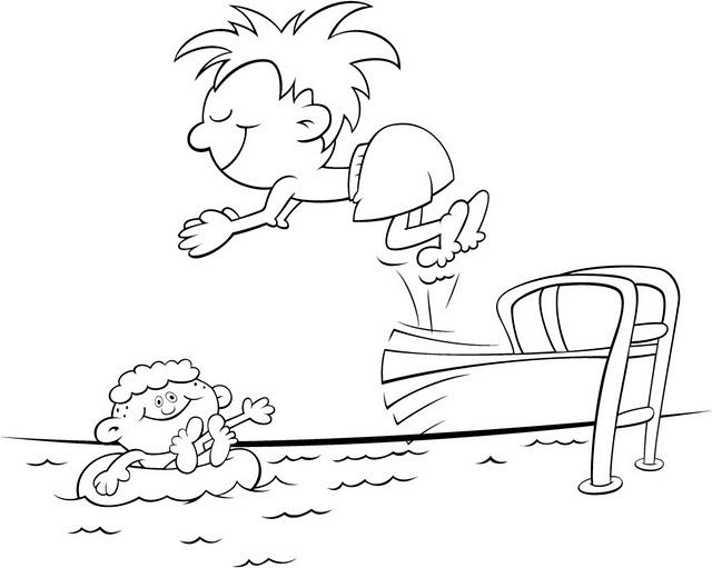 COLOREA TUS DIBUJOS: Niños jugando en piscina para colorear