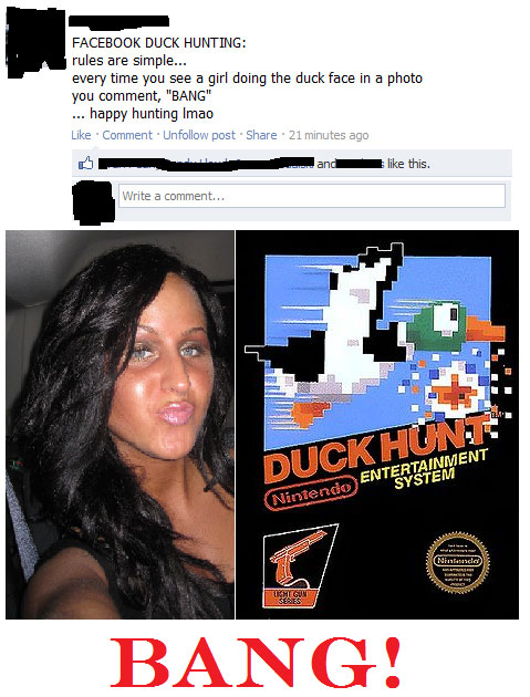 Facebook Duck Hunting - BANG! - Funny Facebook Status
