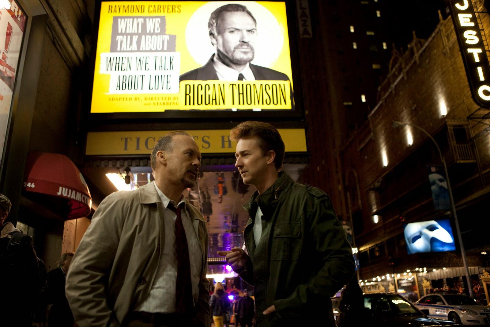 Birdman - Michael Keaton (Riggan) y Edward Norton (Mike)