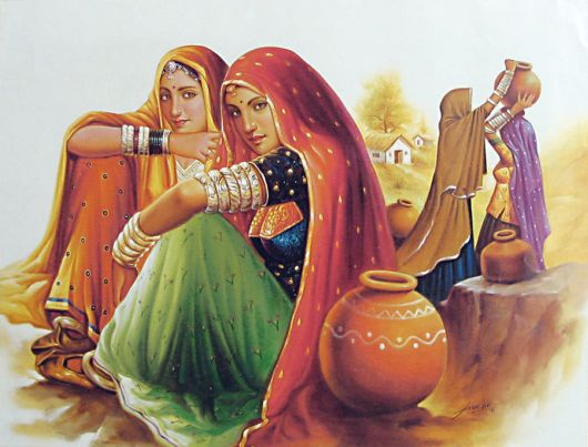 Rajasthani Girls Art Paintings 17