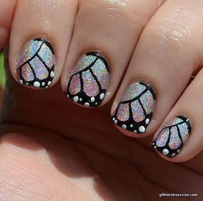 31dc2013, nail art, butterfly, butterfly nail art, holo butterfly nail art, holographic butterfly nail art, butterfly wings, butterfly wings nail art, butterfly wing nail art