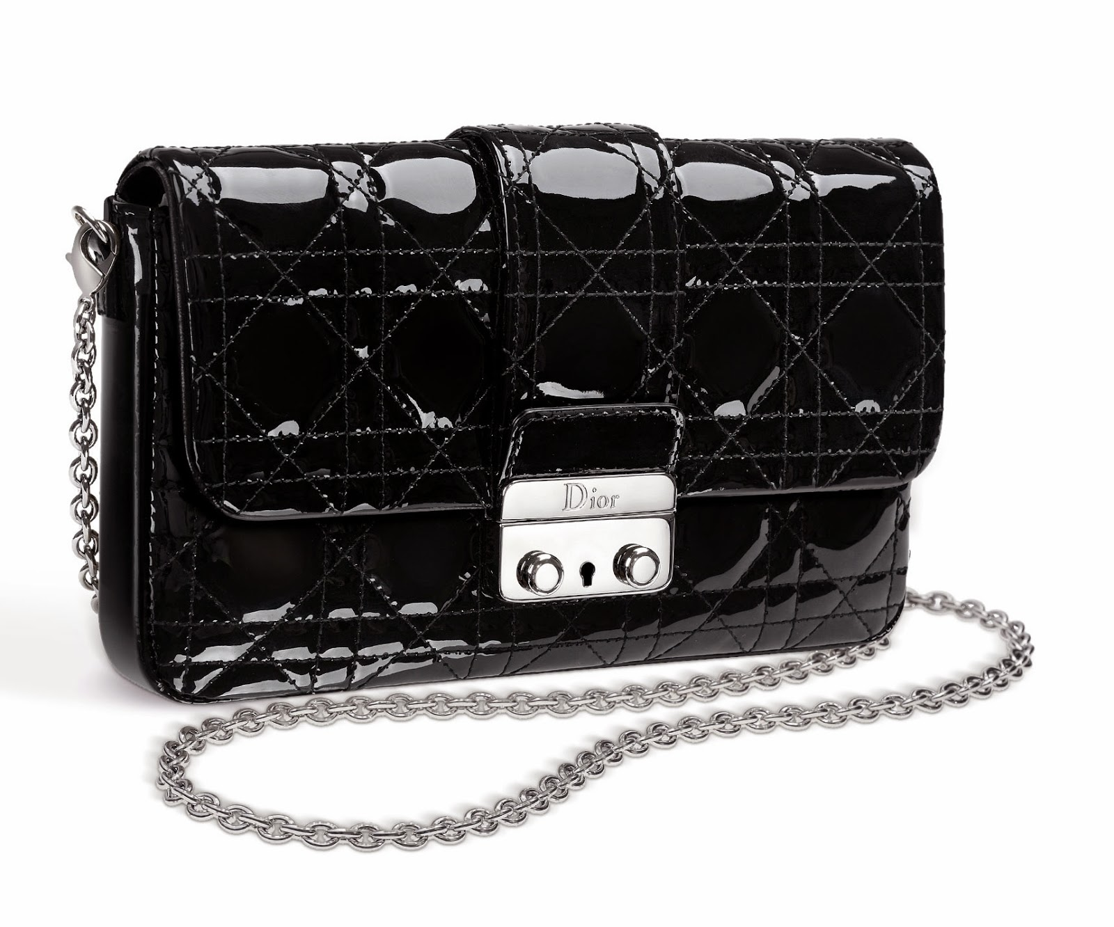 Large Leather  New Look  Promenade Pouch In Black Patent Lambskin.   d98f6b3cca