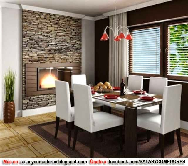 Decoraci n de comedor con chimenea salas y comedores for Decoracion de living