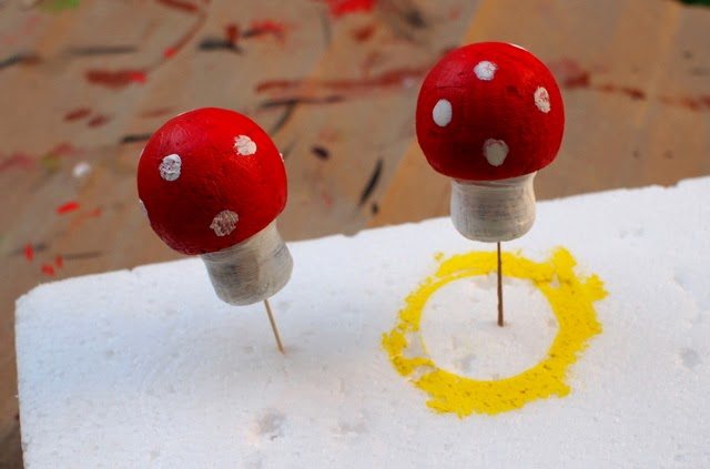 paint cork stoppers to look like mushrooms