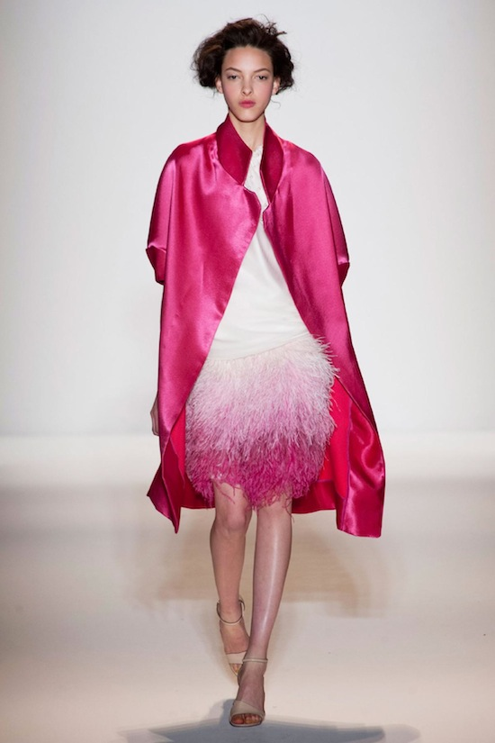 Lela Rose ombre fuschia feather skirt Fall 2013 runway NYFW