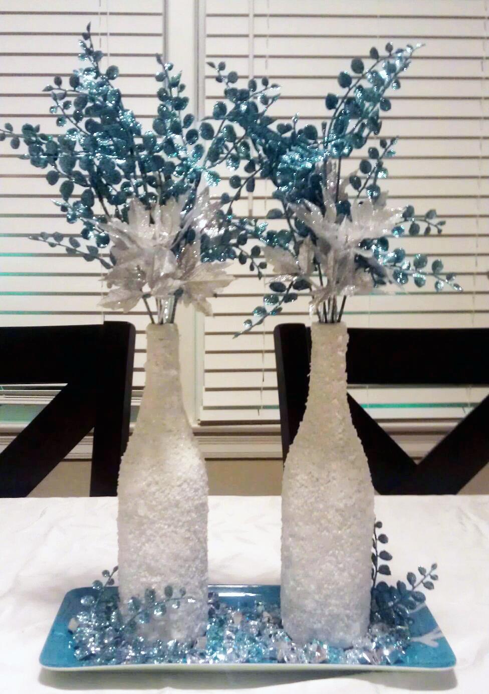 Monicas Creative Crafts Winter Wonderland Wine Bottles