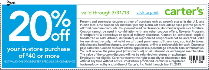 Performance Codes: In-Store Coupon Carter's, 20% Off your ...
