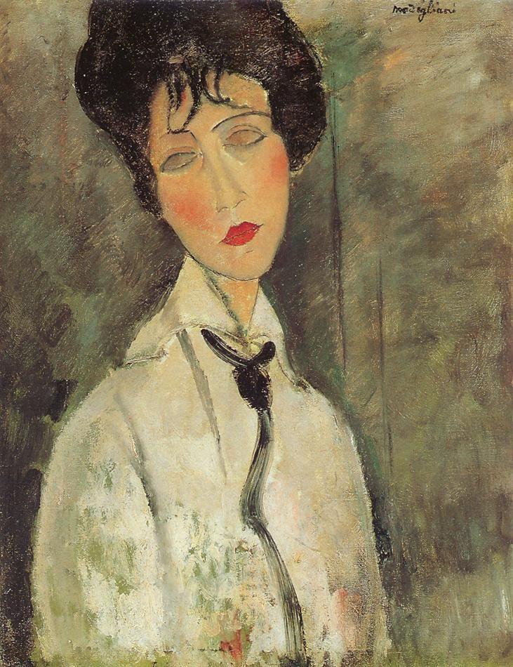 Femme cravate noire Amedeo Modigliani