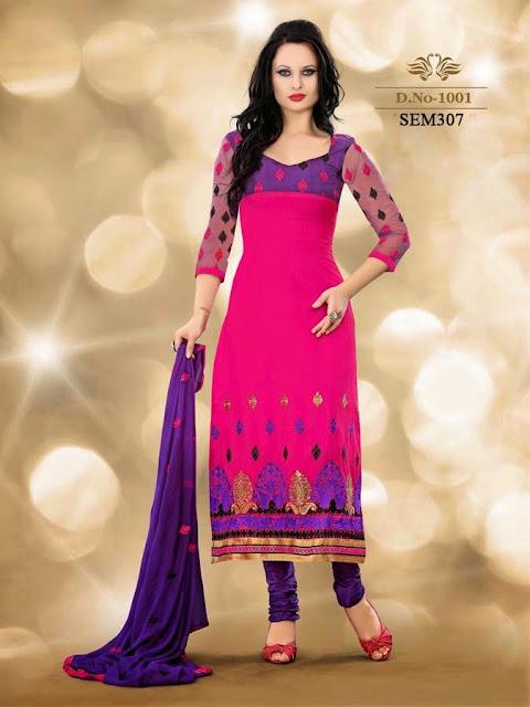 Buy Online Designer Neck Embroidery Ankle Anarkali Suit