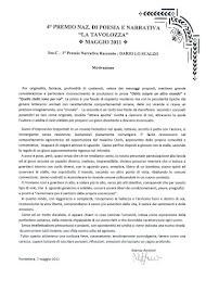 """Vincitore del Premio Letterario Nazionale 2011 """"La Tavolozza"""""""