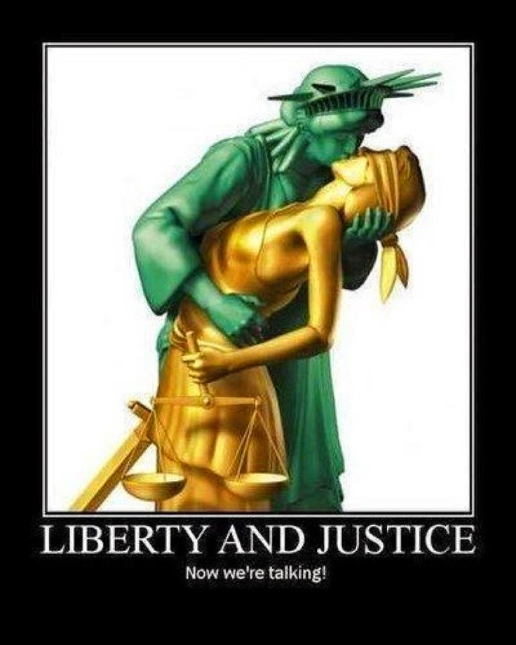 Statue of Liberty Kissing a muse - titled 'liberty and justice'