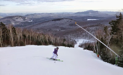 Beth skiing the Topridge trail at Gore, Sunday 01/11/2015.  The Saratoga Skier and Hiker, first-hand accounts of adventures in the Adirondacks and beyond, and Gore Mountain ski blog.
