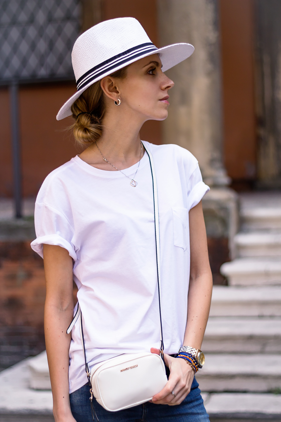 white fedora, black and white, denim with white t-shirt, casual summer outfit