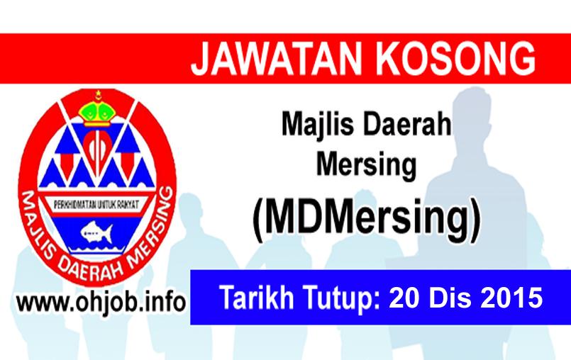 Jawatan Kerja Kosong Majlis Daerah Mersing (MDMersing) logo www.ohjob.info disember 2015