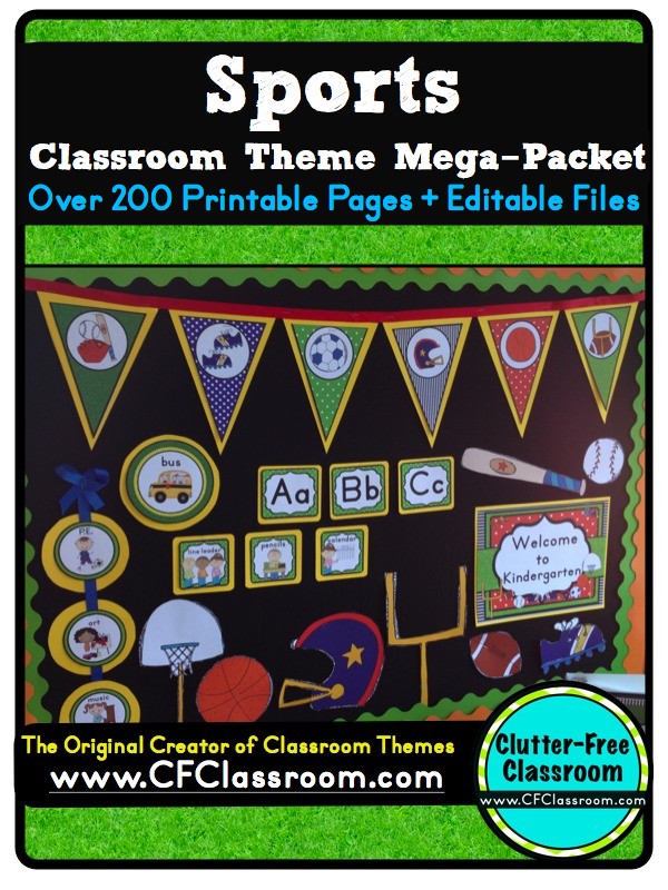 Classroom Theme Ideas For St Grade ~ Clutter free classroom sports themed classrooms