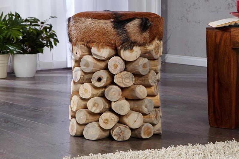 masivny nabytok, prirodne drevo nabytok, dizajnovy taburet na sedenie, prava koza nabytok