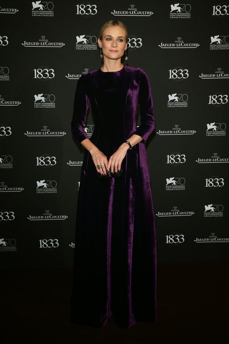 Diane Kruger at Jaeger LeCoultre Gala Dinner in Alberta Feretti purple violet fall 2013 velvet gown