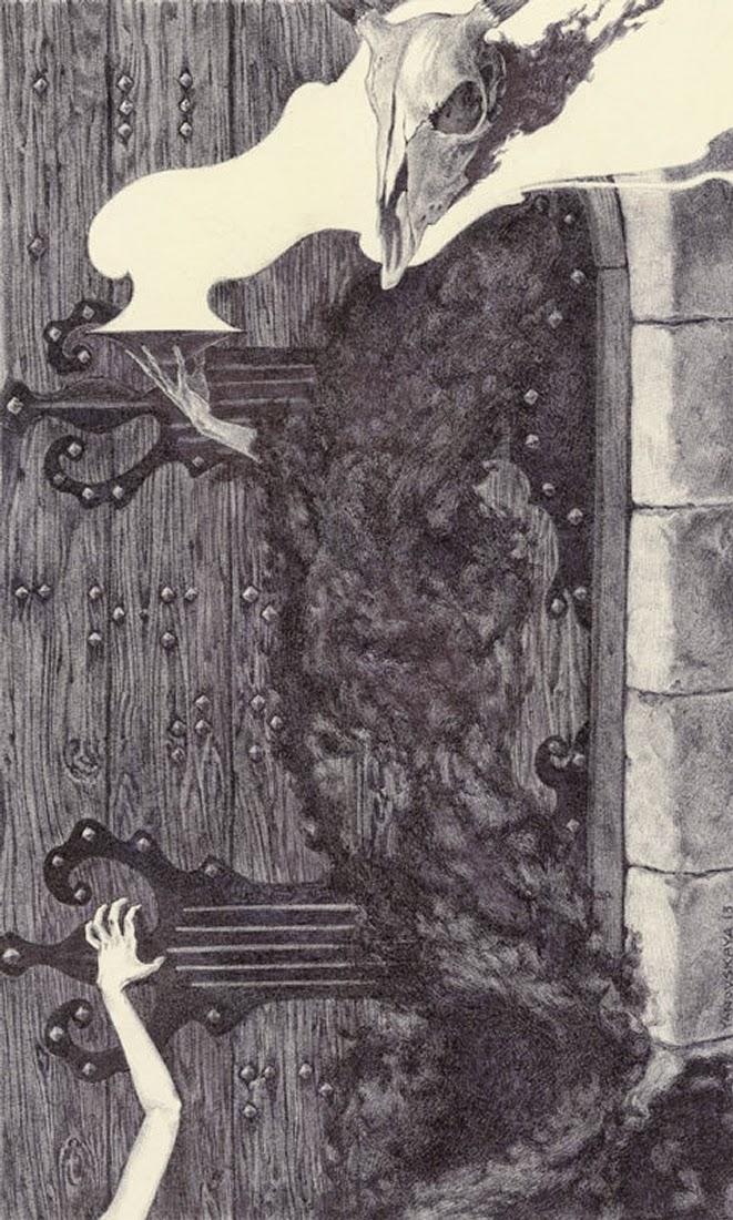 11-Reaper-Rebecca-Yanovskaya-Ballpoint-Pen-and-Gold-Leaf-Drawings-www-designstack-co