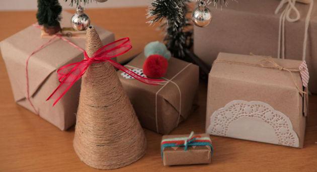 manualidades de navidad arbolito de pitilla de cañamo