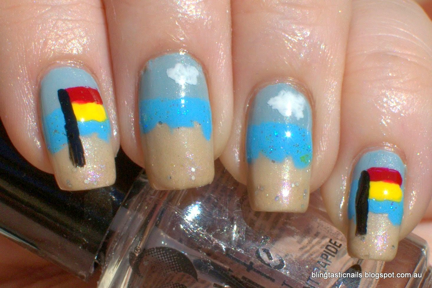 Australia Day Beach Nail Art