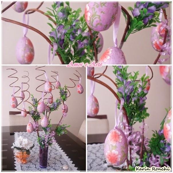 Decoração de Páscoa para mesa - flores, ovinhos lilás e coelhinho