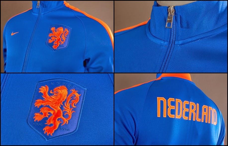 Detail Jaket Grade Original Timnas Belanda Away Biru-Orange Piala Dunia 2014