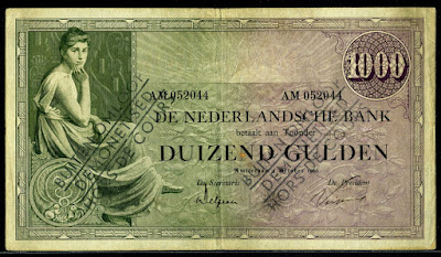 Netherlands Dutch guilder banknotes 1000 Gulden banknote