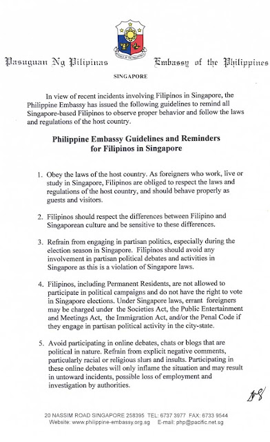 Guidelines and Reminders for Filipinos in Singapore